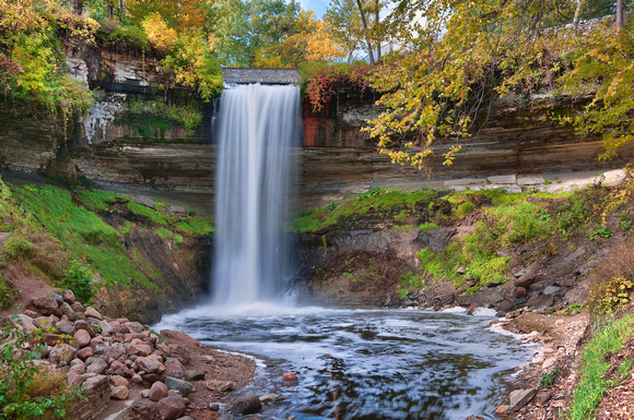 minnehaha, falls, waterfall, park, cascade, water, fall