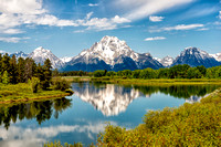 mount moran, oxbow bend, grand teton, national park, wyoming, reflection, clouds, mountain, print