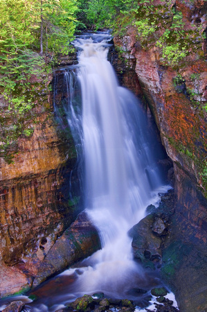 miners falls, falls, waterfall, upper peninsula, michigan, pictured rocks, national, lake shore, print