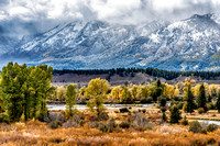 mountain, landscape, grand teton, national park, clouds, stormy, wyoming