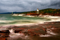 grtand marais, minnesota, north shore, lake superior, artists point, stormy, long exposure, print